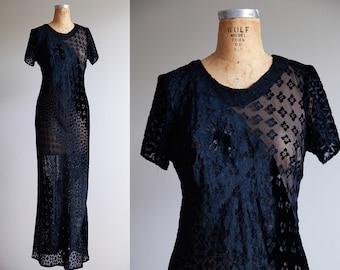 Large Sheer Black Velvet Maxi Dress