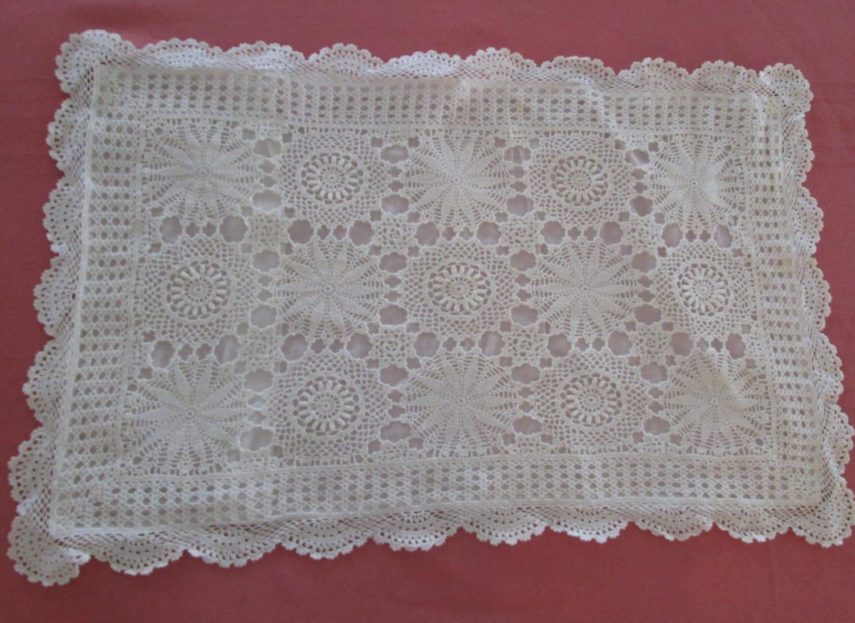 Vintage Shabby Chic Pillow Shams : Vintage Pillow Sham White Crochet Shabby Chic Vintage Pillow