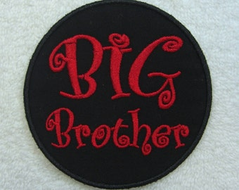 Big Brother Patch Fabric Embroidered Iron on Appliqué Patch Ready to Ship