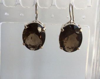 Sterling Silver Smoky Quartz Hanging Carved Earrings