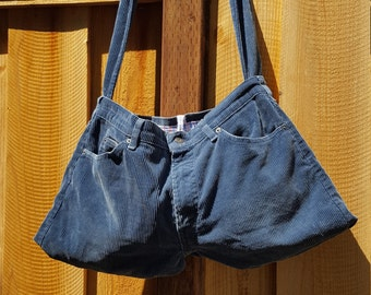 Corduroy Pants Purse with Plaid Liner