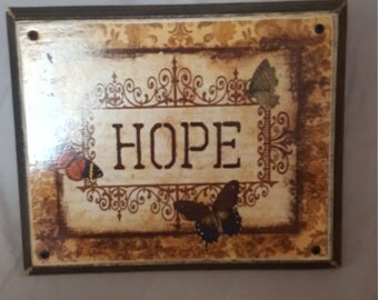 Solid Wood Hanger with Butterfly Hope Print