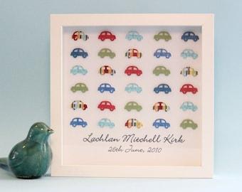 Personalised Baby Gift, Nursery Wall Art, 3D Paper Art, Nursery Decor, Cars, Transport