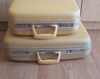 Vintage Retro Yellow Hardshell Suitcases