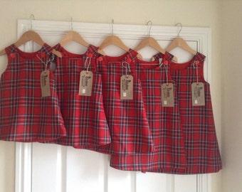 red tartan pinafore dress