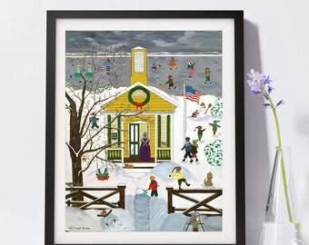 Country School House Art Painting PSNY - Home Decor