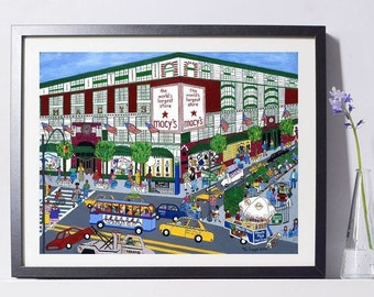 New York Art - Macy's NY Art - New York Gift - NYC Art Print - Pat Singer's New York