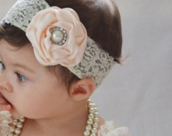 Kids Baby Girl Toddler Cute Lace Pearl Flower Headband Hair Band
