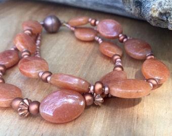Burnt orange adventurine and copper bracelet