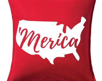 Merica 4th of July Pillow Cover