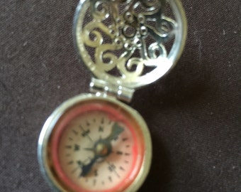 Vintage Silver Compass Charm Opens