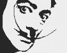 Salvador Dali Portrait Cross Stitch Pattern Instant Download Stencil Style Black on White