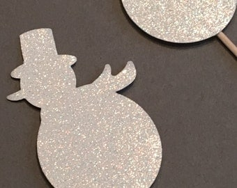 12 Snowman Cupcake Toppers Glitter Cupcake Toppers Birthday Cupcake Toppers Shower Cupcake Toppers Holiday Cupcake Toppers