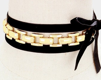 Velvet Chain Tie-Up Choker