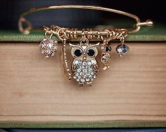 Owl Charm Bracelet, Gold Owl Bracelet, Silver Owl Bracelet, Gold Owl Bangle, Silver Owl Bangle, Owl Charm Bangle