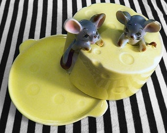 Kitschy Mice on Cheese-Wheel Container