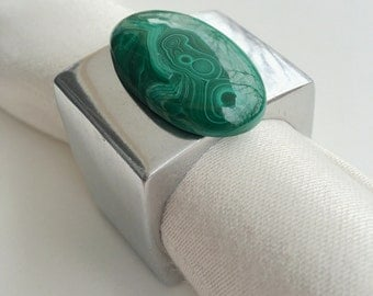 Malachite napkin rings