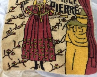 "French Brocante Tapestry, Needlepoint, 14 1/2"" X 14 1/2"",  perfect condition"