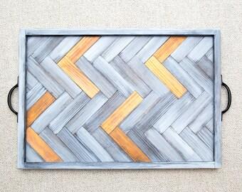 Handmade wood herringbone serving tray FREE POSTAGE