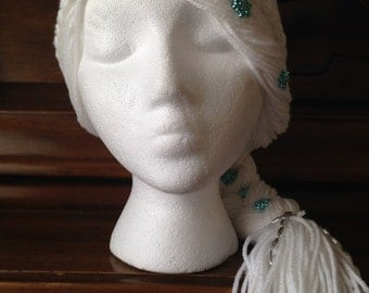 Princess Elsa Inspired White Crocheted Hat with Braid and Snowflakes