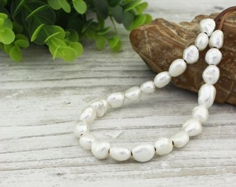 20 pearls, 10-11 mm white baroque pearls, pearl beads, freshwater pearls, pearl jewelry, pearl necklace, pearl bracelet, wholesale, Z 165