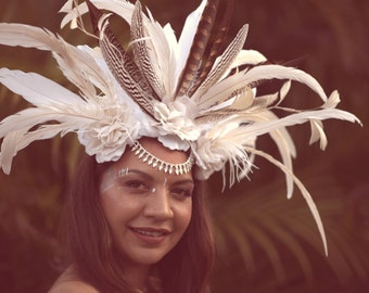 White Tribal Queen Feather Headpiece By ShapeShifters
