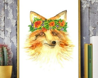 fox Painting,Beautiful Fox with a floral bouquet,Fox and flowers,fox Watercolor Painting,foxArt Print,fox artwork,Modern fox,fox home Décor