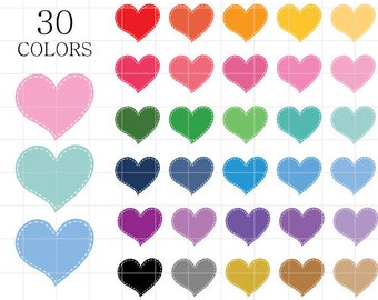 Hearts Clipart, Stitched Heart Clipart, Stitched Hearts Clipart, Rainbow Hearts Clipart,  Digital Hearts, Heart Clipart, Hearts Clip Art