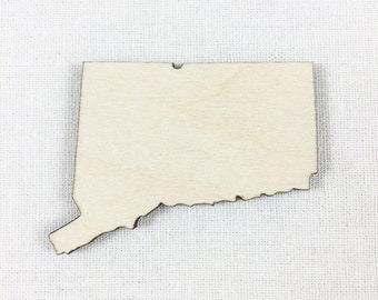Connecticut State Wood Cut Shape Shape, Unfinished Wood Connecticut Laser Cut Shape, DIY Craft Supply, Many Size Options