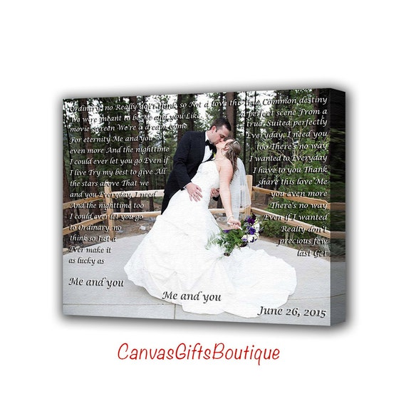 1st Wedding Anniversary Gifts Husband : First wedding anniversary gift, first dance lyrics to canvas, wedding ...