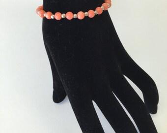 Natural Coral/Silver Adjustable Bracelet