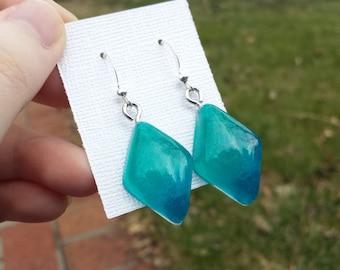 Aqua Ombre Earrings - Diamond