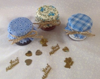 Fabric lid tops jam wedding  + twine/bands/labels. x 50 MIXED BLUES