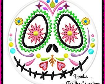 Jack Skellington Nightmare Before Christmas Dia de Los Meurtos Day of the Dead Sugar Skull Digital Embroidery Machine Applique Design