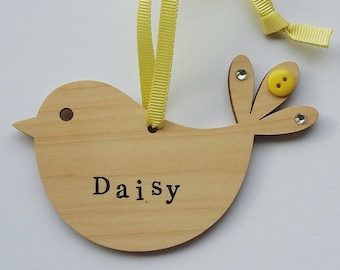 Bird - Wooden Decoration - Personalised