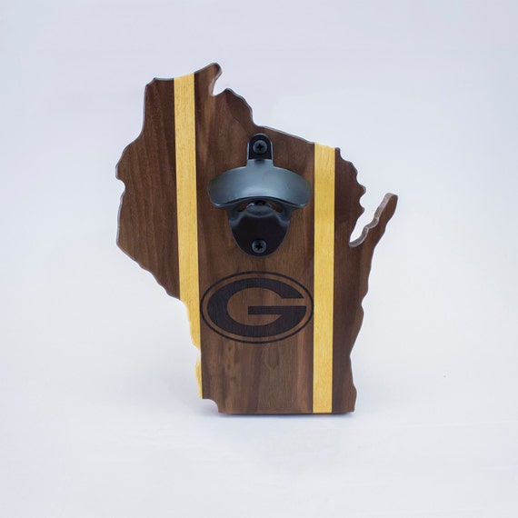 Green Bay Packers Walnut and Yellowheart Magnetic Bottle Opener