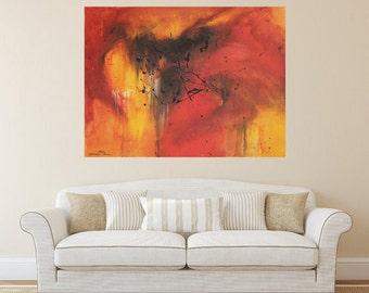 Original Abstract Painting 36x48 XXL Art Modern Red Painting Yellow Painting Orange Painting Black Painting Textured Art Contemporary Design