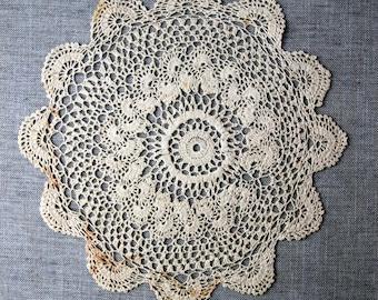 Vintage Crochet Doily, handmade ecru cotton doily, vintage doilies, round doily, vintage lace