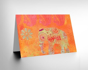 New Dt Indian Collage Elephant Art Birthday Gift Blank Greetings Card CL1053