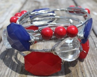 Red, White & Blue Stacked Bangles