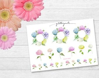 Hydrangea Hortensien Flower Planner Stickers