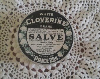 Vintage White Cloverine Brand Salve Tin