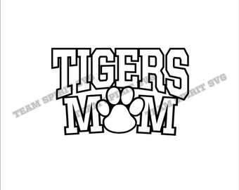 Tigers Mom with Paw Download Files - SVG, DXF, EPS, Silhouette Studio, Vinyl Cut Files, Digital Cut Files -Use with Cricut and Silhouette