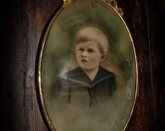 Antique Oval Framed Photo Of Young Boy