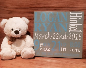 Personalized Baby birth Stats Sign