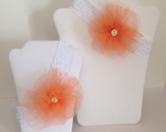 Wedding Bridal Keepsake & Toss Garter Set.  White Stretch Lace w/Melon Coral Orange Tulle Flower, Gold/Rhinestone Center.  Size Small.