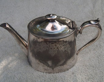 EPBM Teapot - Silver Plated - Distressed/Worn/Shabby Chic - Vintage Silverplate