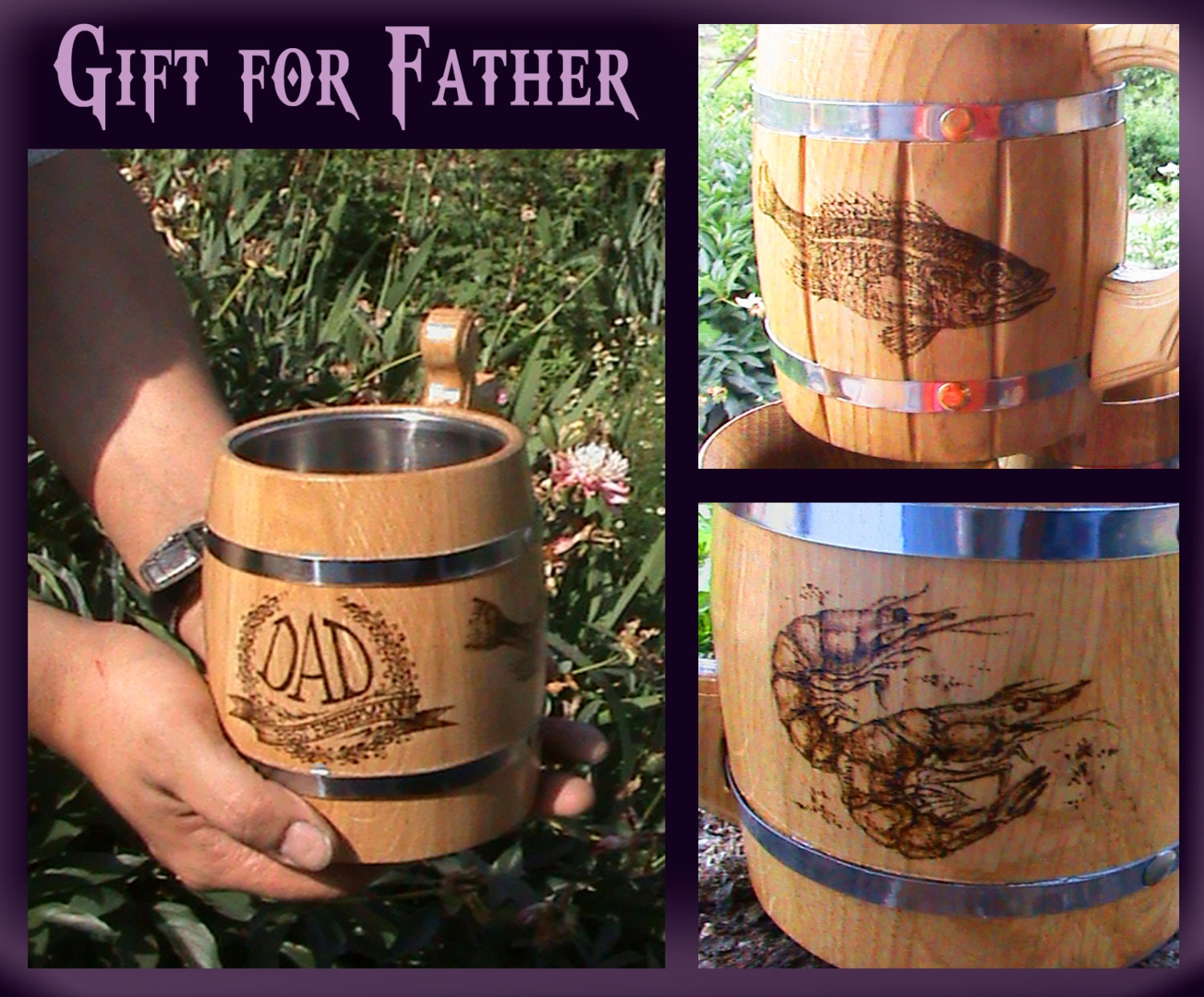 Beer mug fisherman gift fishing gifts gift for father fathers for Fishing gifts for dad