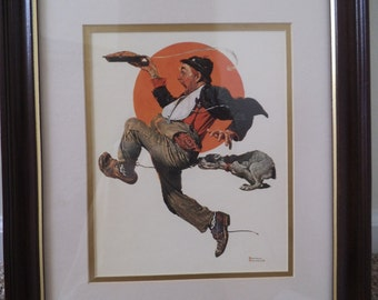 "Norman Rockwell print ""Fleeing Hobo"" 1928"