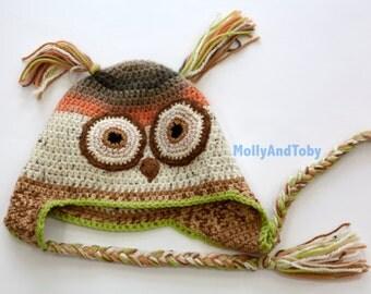 Owl Hat Crochet Beanie